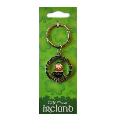 Lucky Irish Leprechaun Spinner Keychain