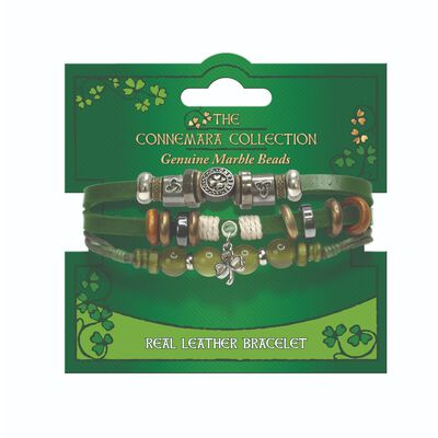 The Connemara Collection Genuine Green Leather Shamrock Bracelet