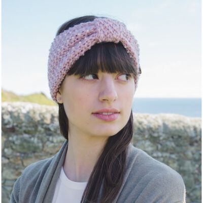 Irish Knitwear Co. Pink Knit Headband With Pearl and Diamontae Detail