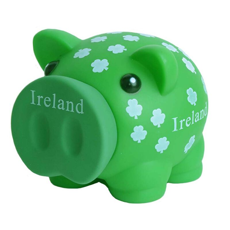 Green Piggy Bank With White Shamrocks And Ireland Text