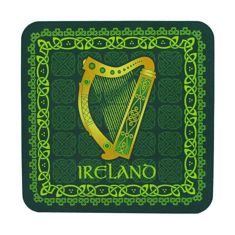 Irish Celtic Coaster With Harp Design And Ireland Text