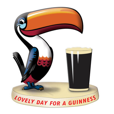 Official Guinness Resin Figurine With Toucan And Pint Glass Design