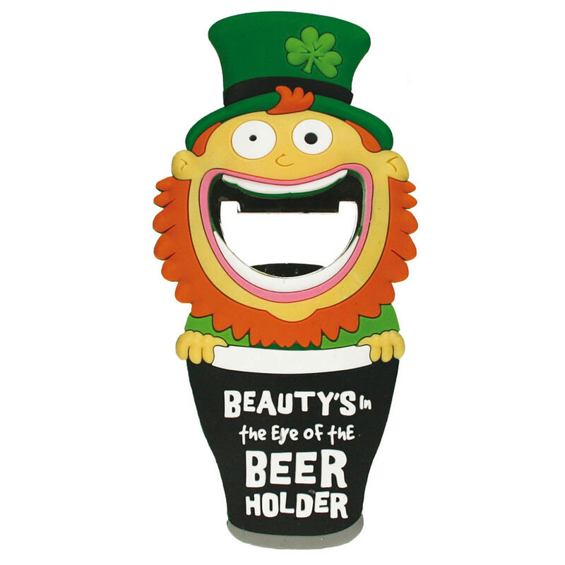 Pvc Magnet With Leprechaun In Pint And Bottle Opener