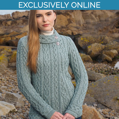 West End Knitwear Mermaid Colour Meath Side Button Cardigan 100% Merino Wool