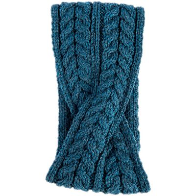 Aran Woollen Mills Super Soft Merino Wool Crossover Headband  Irish Sea Colour