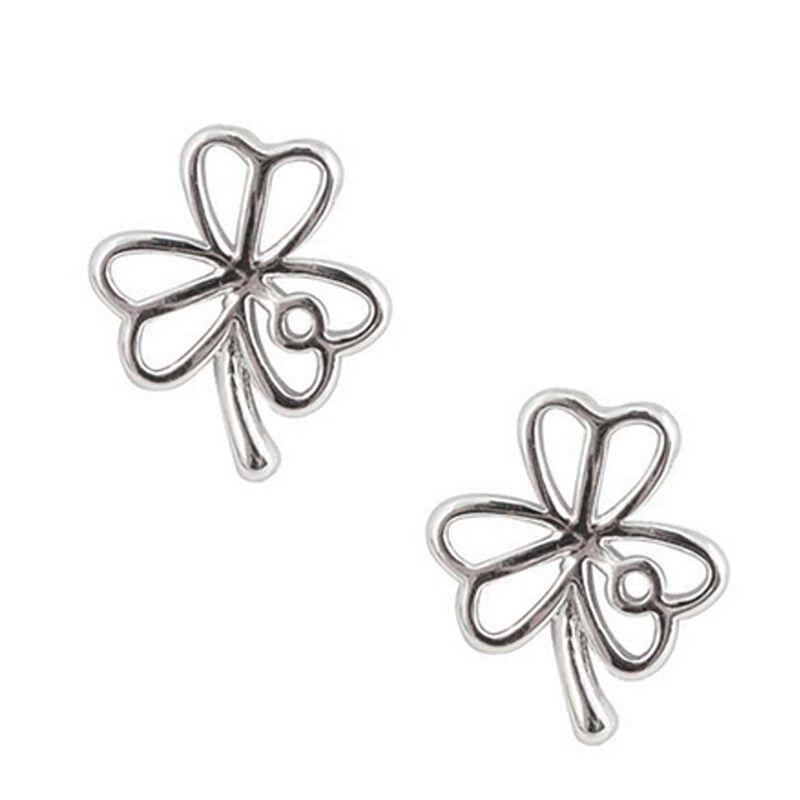 Silver Plated Ribbon Design Shamrock Earrings