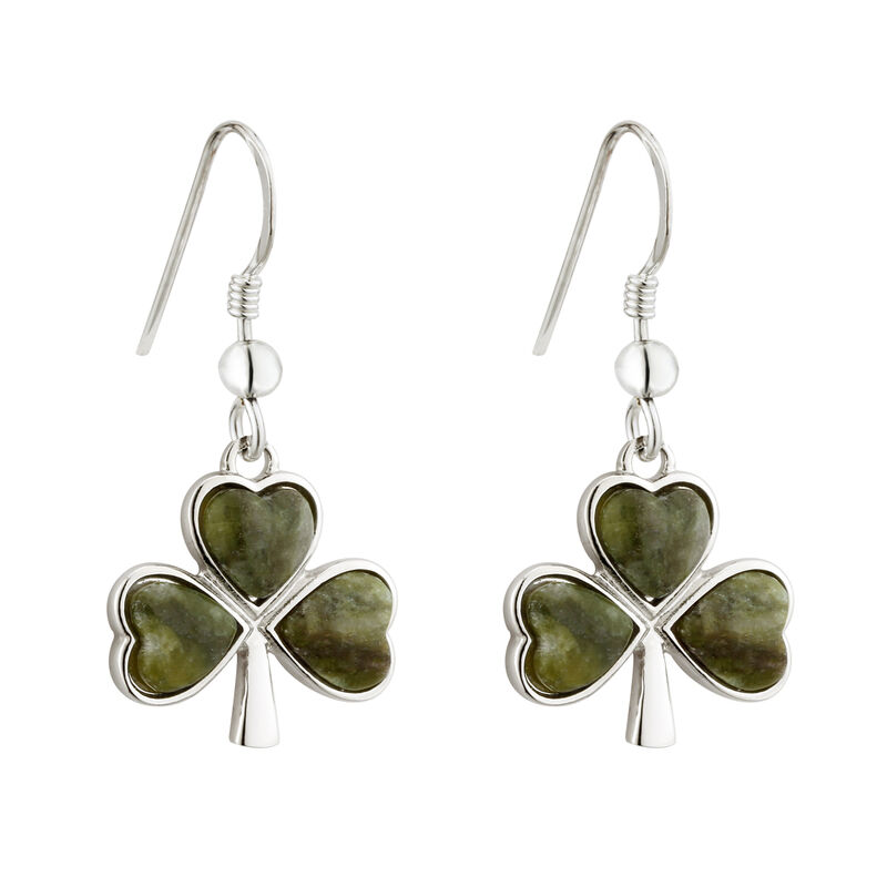 Rhodium Plated Connemara Marble Shamrock Droplet Drop Earrings