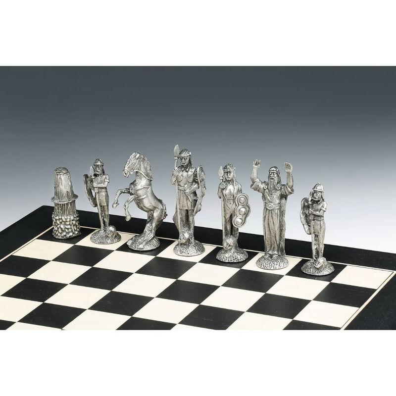 Mullingar Pewter Medieval Irish Designed Chess Set With Board