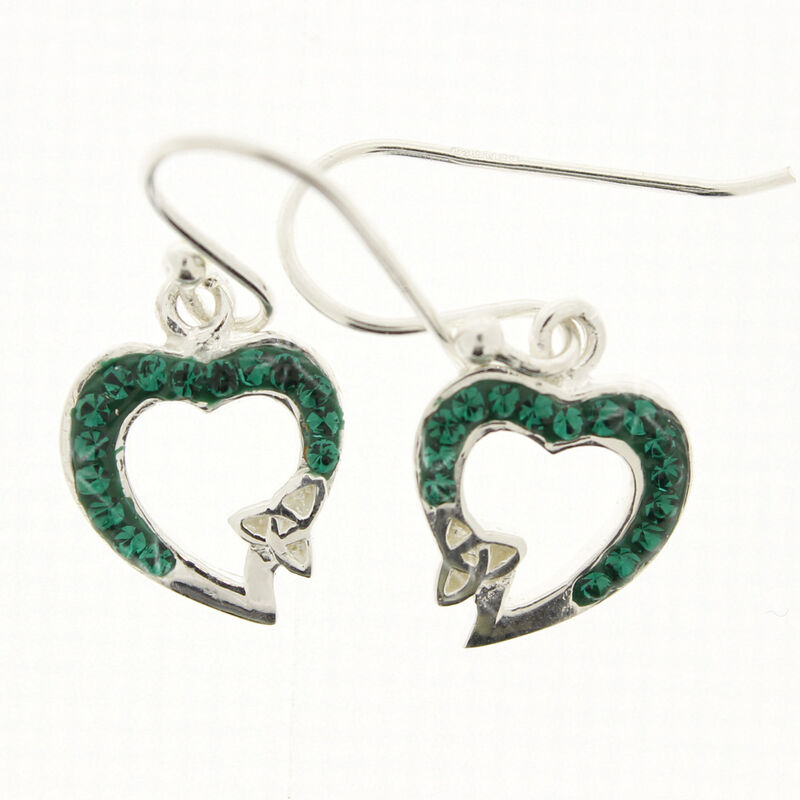 Hallmarked Sterling Silver Heart Shaped Green Earrings With Mini Trinity Knot Design