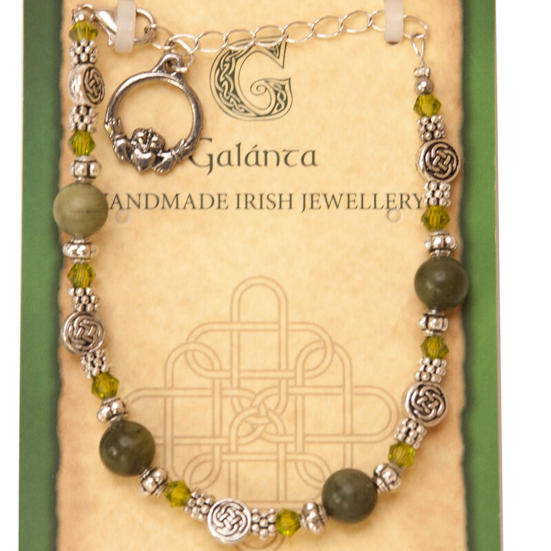 Connemara Marble Celtic Knot Bead Bracelet With Claddagh Design