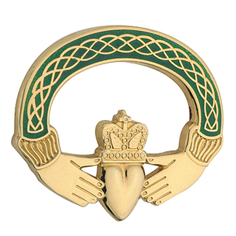 Gold Plated Claddagh Tara Brooch  Presented In A Box