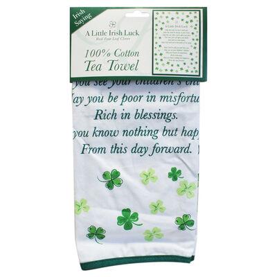 Four Leaf Clover Single Irish Luck T Towel