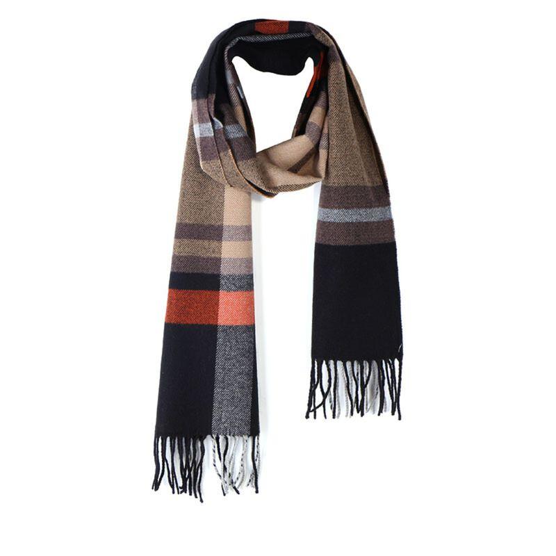Celtic Ore Tweed Irish Scarf Herringbone Design  Rust and Black Colour