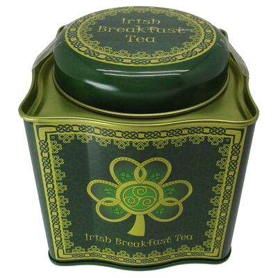 Irish Breakfast Tea -Shamrock Spiral Tin With A Green And Yellow Celtic Design