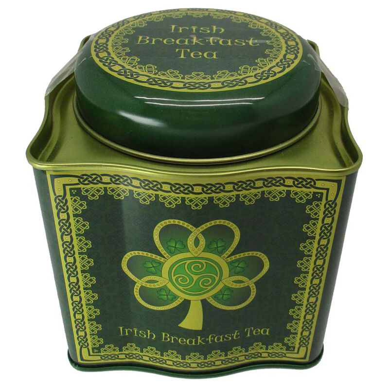 Irish Breakfast Tea -Shamrock Spiral Tin With A Green And Yellow Celtic Design