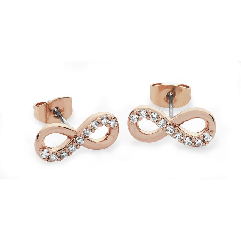 Tipperary Crystal Rose Gold Simple Infinity Knot Part Stone Stud Earrings
