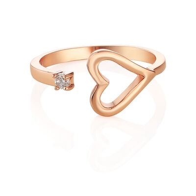 Newbridge Silverware Rose Gold Plated Heart Ring