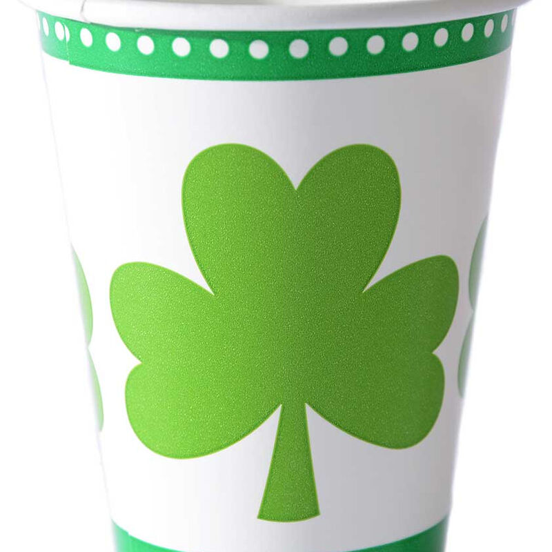 8 Pack Of Lucky Shamrock Designed Paper Cups 266m