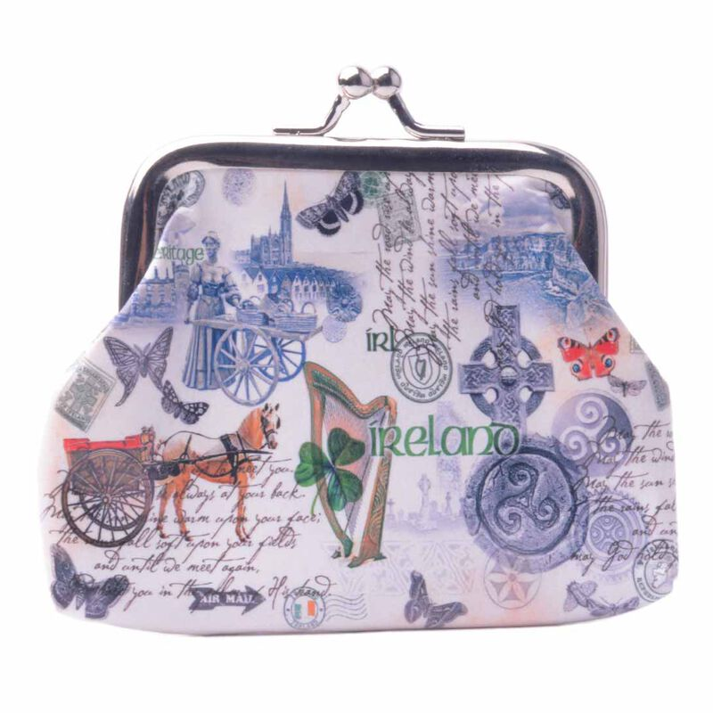 White Ladies Coin Purse with Irish Landmarks and Icons and Irish History Design