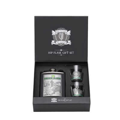 Ireland Stainless Steel Hip Flask Gift Set With Two Shot Glasses