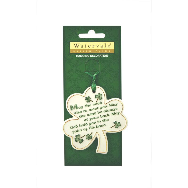 Shamrock with May the Road... Irish Blessing Watervale Hanging Decoration