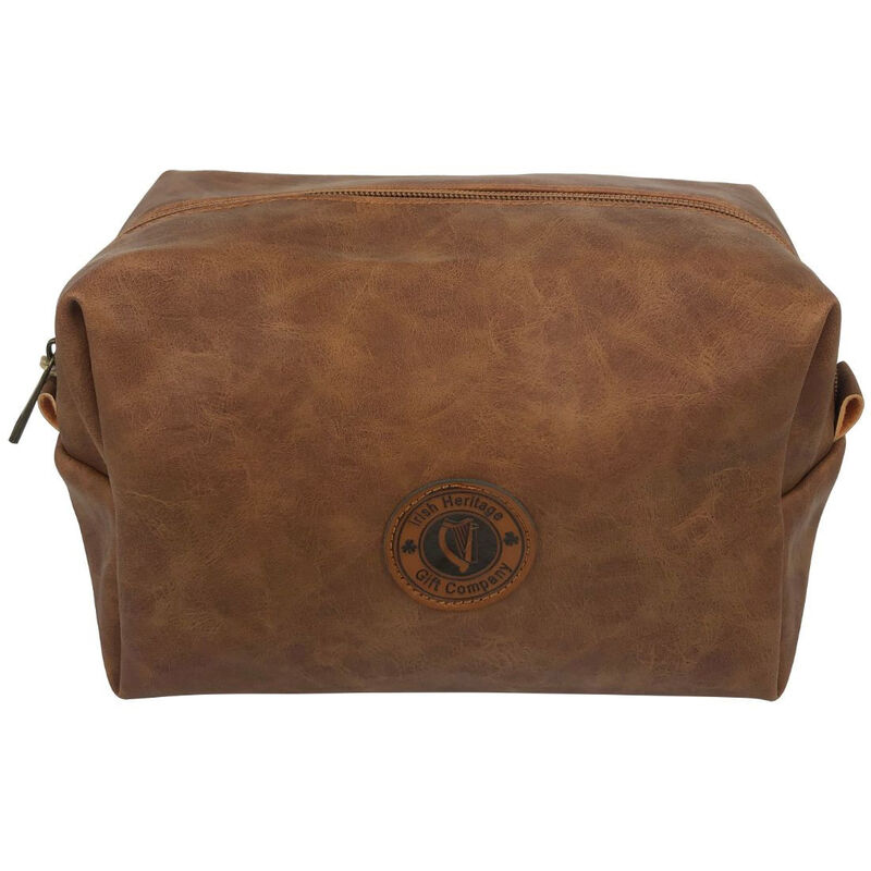 Irish Heritage Gift Company Toiletry Bag In Brown With Harp Seal Design