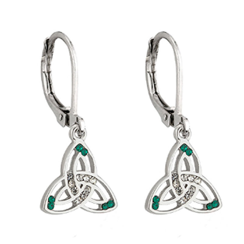 Rhodium Plated Trinity Knot Drop Earrings With Green And White Crystal
