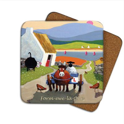 Irish Coaster With Sheep On A Donkey And Cart With 'Form-ewe-la One' Text
