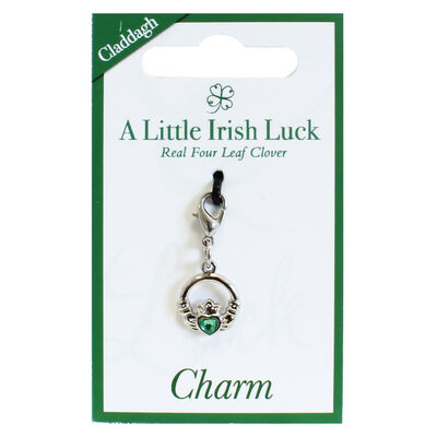 Claddagh Charm With Green Diamante Heart  Silver Plated