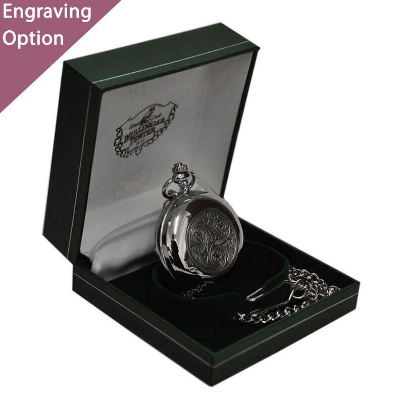 Mullingar Pewter Edelstahl-Taschenuhr mit keltischem Logo