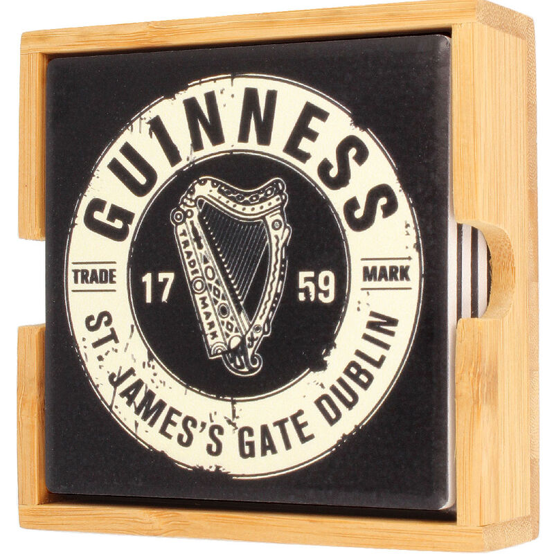 Guinness Official Merchandise Ceramic Coasters 4-Pack With Bottle Top Design