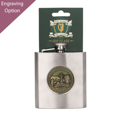 Stainless Steel 6oz Hip Flask With Ireland Brass Badge Design