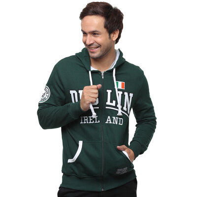 Full-Zip Hooded Sweater With Dublin Ireland Print and Tri Colour Flag  Green