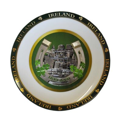 Ceramic Ireland Foil 15cm Display Plate  Comes With Display Stand