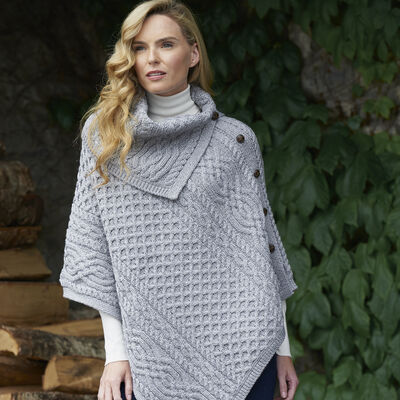 Ladies Traditional Buttoned Cowl Neck Poncho  Soft Grey Colour