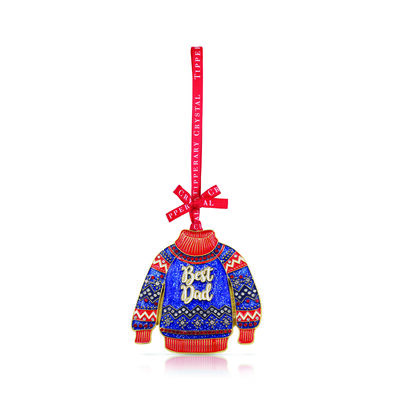 Tipperary Crystal Decoration With Christmas Sweater Best Dad Design