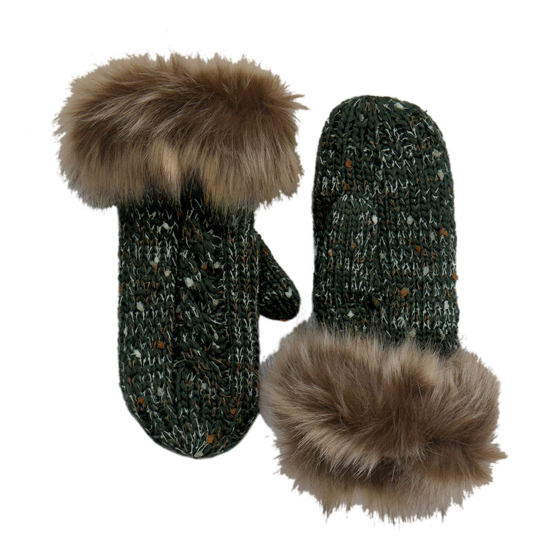 Patrick Francis Designed Bootle Green Speckled Mittens With Fur Wool