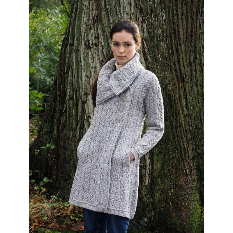 Collar Aran Coat With Buttons Light Grey