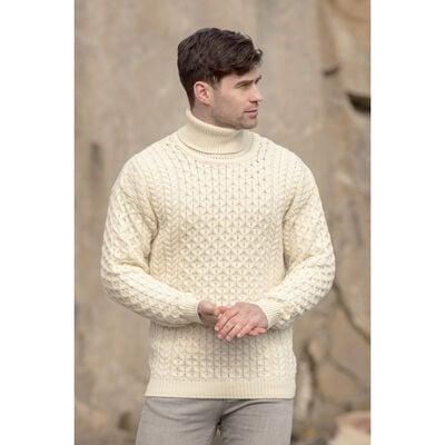 100% Merino Wool Men's Roll Neck Sweater, Natural Colour