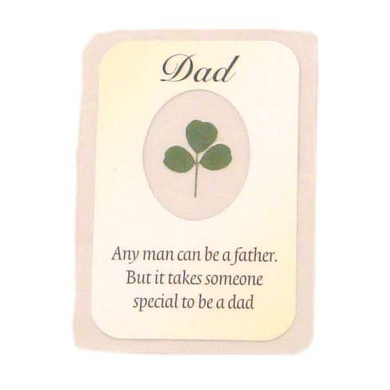 Dad Good Luck Laminated Emblem With Real Shamrock Centred 3.5 X 2