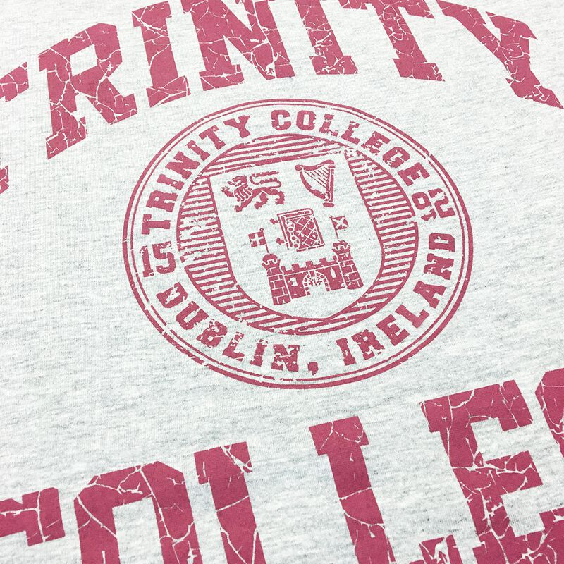 Trinity College T-Shirt With College Seal Design  Grey Marl Colour