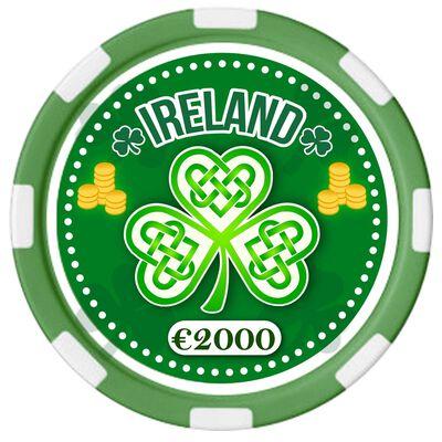 Irish Designed Poker Chip With Ireland Text And Celtic Shamrock Design