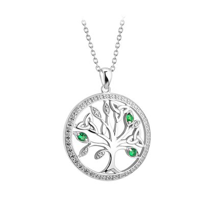 Sterling Silver Tree Of Life Necklace With Trinity Knot And Green Gem Detailing