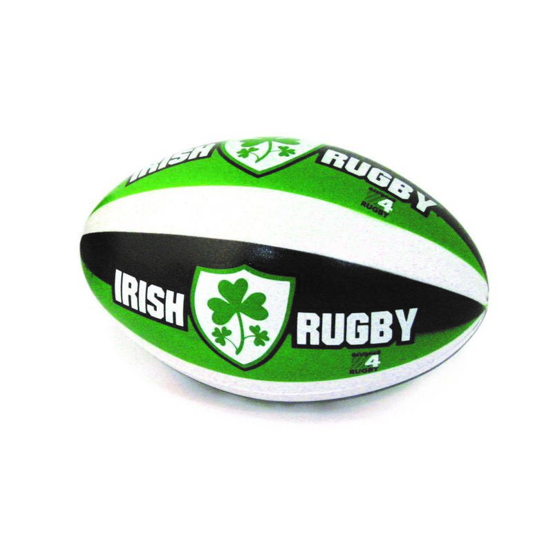 6 Rugby Stress Ball With Irish Rugby And Shamrock Crest Design