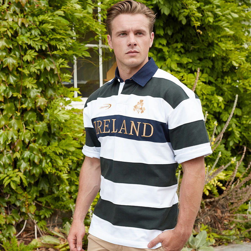 Ireland Rugby Shirt Short Sleeve Striped Green And White Colour