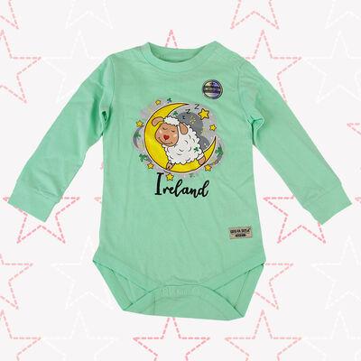 Ireland Baby Romper Sheep Sleeping On The Moon Design, Mist Green Colour