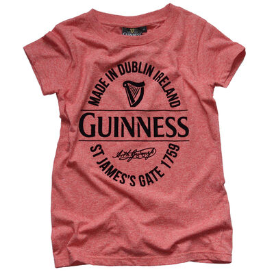 Guinness Damen T-Shirt mit Made in Dublin Flasche Label  Farbe rot