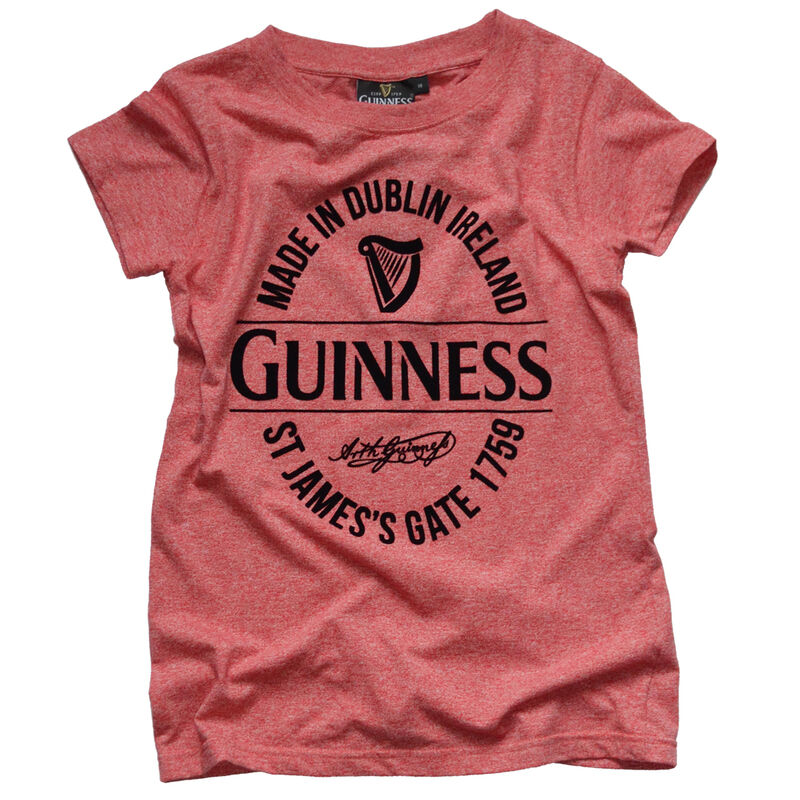 Ladies Guinness T-Shirt With Made In Dublin Bottle Label  Red Colour