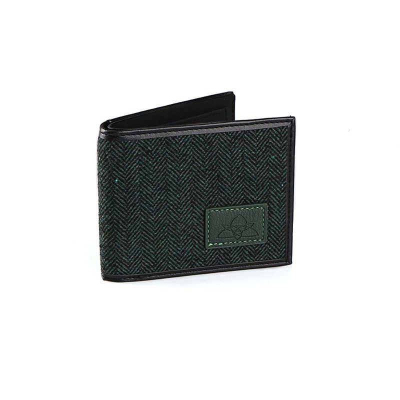 Irish Designed Green Herringbone Credit Card and Notes Wallet