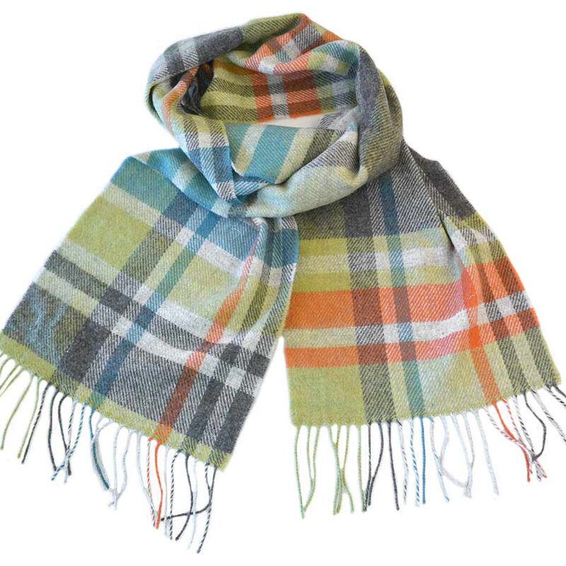 Foxford 100% Lambswool Bright Coloured Warp Weft Striped Scarf